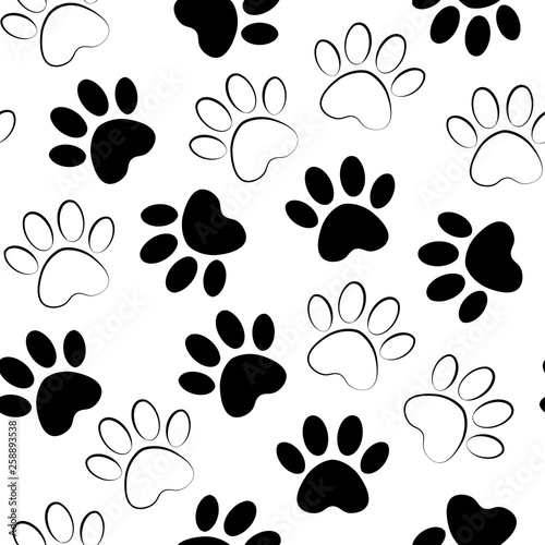c5c992c66216 Paw black print seamless. Vector illustration animal paw track pattern.  backdrop with silhouettes of cat or dog footprint.