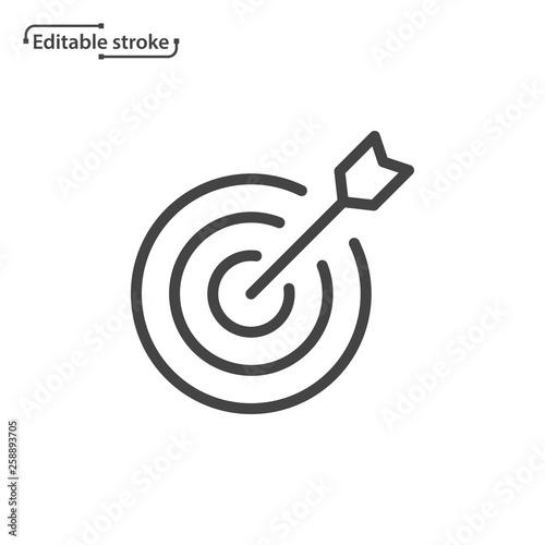 Fotomural Target with arrow vector icon. Editable stroke.