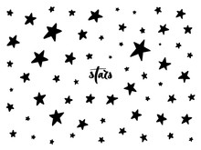 Set Of Black Hand Drawn Vector Stars