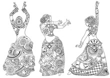 Three Indian Dancers In The St...