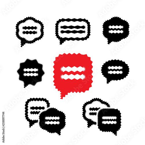 Fotografía  Vibrant Speech Bubble or Thought Bubbles Vector Icons