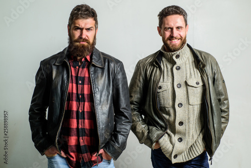 Fényképezés  Brutal men wear leather jackets