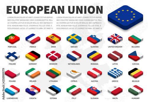 European union ( EU ) flag and membership on europe map background . Isometric top design . Vector . - fototapety na wymiar