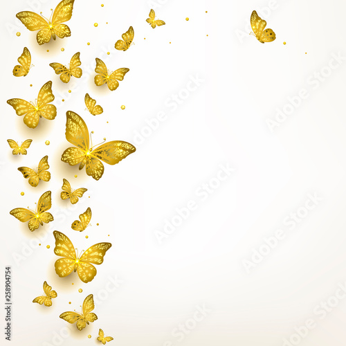 Fotografie, Obraz  Decorative Golden Butterflies in a Flock