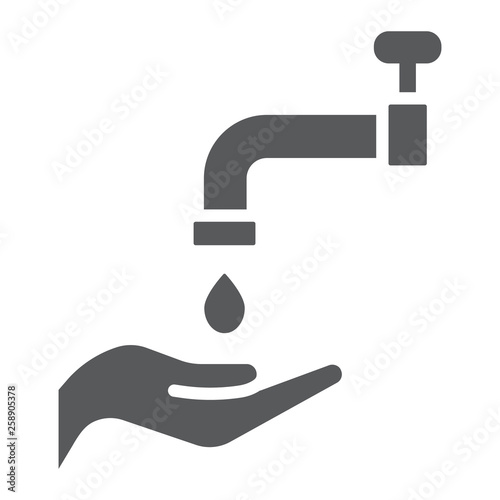 Fototapeta Islamic wudu glyph icon, arabic and prayer, hand wash sign, vector graphics, a solid pattern on a white background