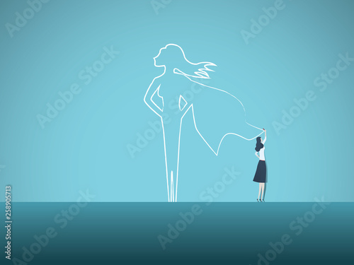 Photo  Business ambition and motivation vector concept with businesswoman drawing superhero on wall