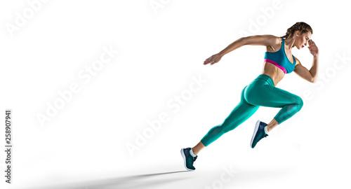 Fototapeta Sport backgrounds. Runner. Isolated scene. obraz