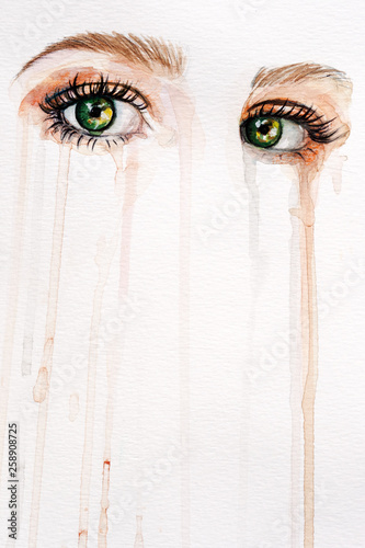 Canvas-taulu Watercolor eyes background