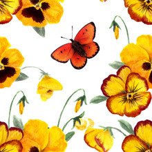 Seamless Floral Pansy Pattern. Hand Drawn Watercolor