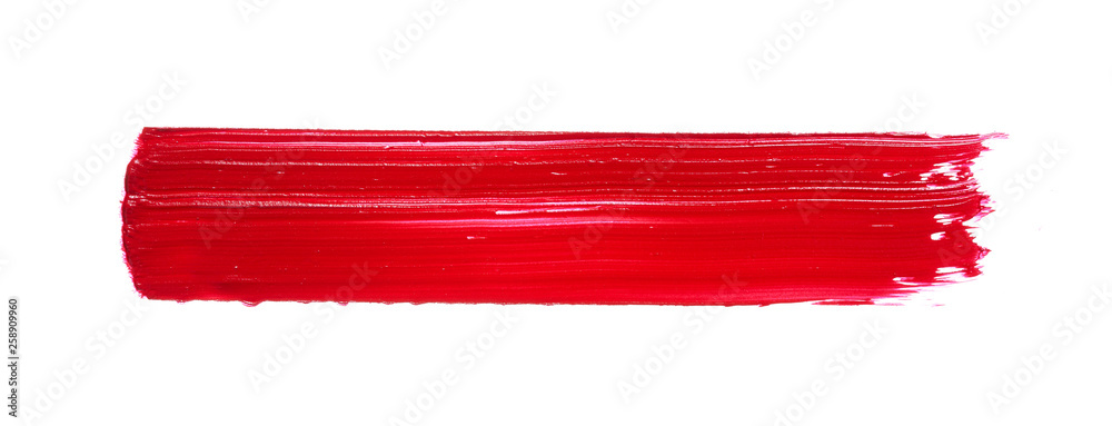 Fototapety, obrazy: Red lipstick or acrylic paint isolated on white