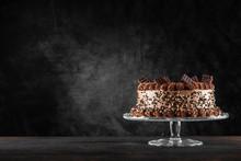 Decorated Chocolate Cake On Dark Background