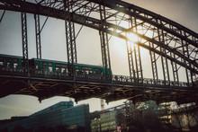 Parisian Subway And Bridge And Sunbeam