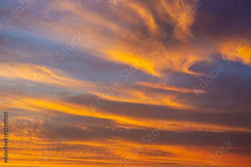 Fototapety, obrazy: Wonderful color in the sky during the sunrise close up.  Sky background with cool and warm color tone.