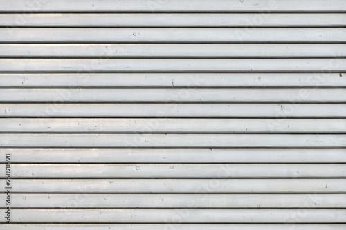 Fototapeta White vintage wooden boards in overlap cladding pattern
