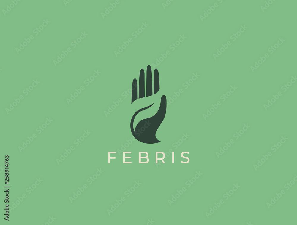 Fototapeta Hand with leaf logo. Modern negative space logo. Growth concept. Environment friendly symbol. Eco vector illustration. Hand + Leaf logo.
