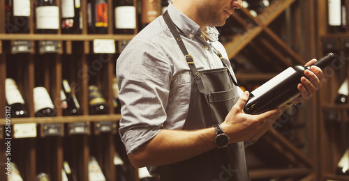 Poster de jardin Bar Close-up shot of sommelier holding bottle of red wine in cellar