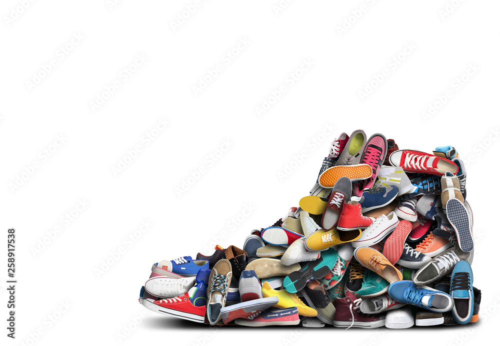 Fototapeta Big sneaker made up of different sneakers