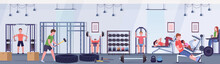 Sporty People Doing Exercises Men Women Working Out Together On Training Apparatus In Gym Workout Healthy Lifestyle Concept Modern Health Club Studio Interior Horizontal Banner