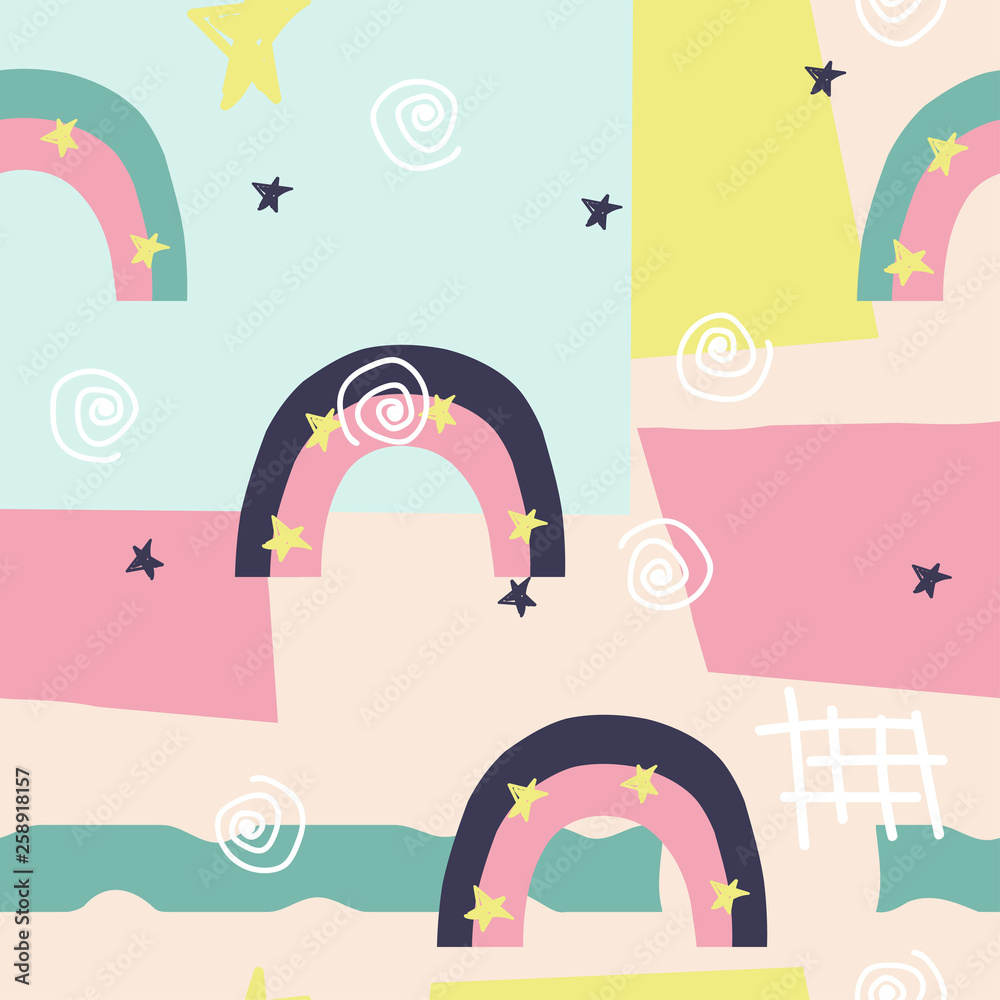 Abstract modern seamless pattern with rainbows and stars. Pastel geometric print. Vector hand drawn illustration.
