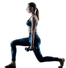jedna kobieta kaukaski wykonując ćwiczenia fitness ćwiczenia w sylwetce na białym tle
