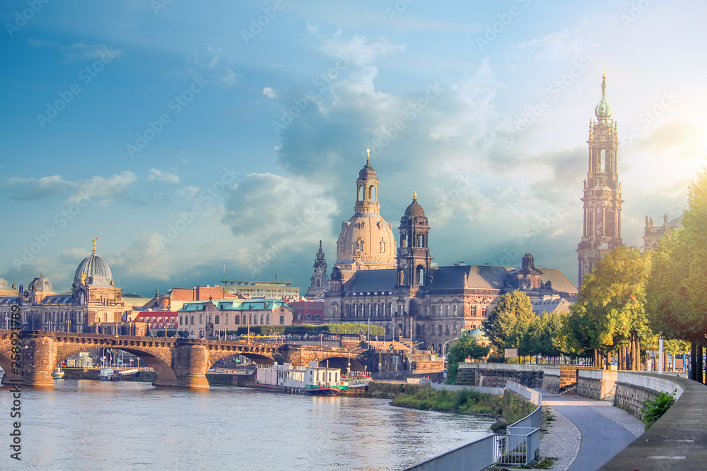 Fototapety, obrazy: Cityscape Of Dresden At Elbe River And Augustus Bridge, Dresden, Saxony, Germany