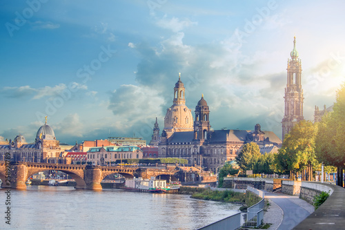 Cityscape Of Dresden At Elbe River And Augustus Bridge, Dresden, Saxony, Germany Poster Mural XXL
