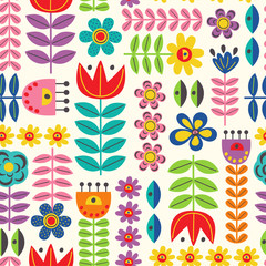 seamless pattern with retro style flowers - vector illustration, eps