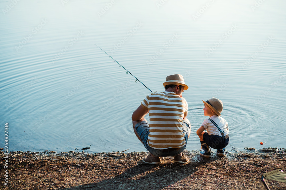 Fototapeta A rear view of mature father with a small toddler son outdoors fishing by a lake.