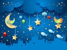 Surreal Night With Skyline, Bi...