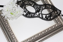 Sexy Lace Eye Mask For Woman And Vintage Frame. White Background. Flatly. Template For Postcards. Blank For Text.