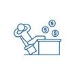 Rich manager line concept icon. Rich manager flat vector website sign, outline symbol, illustration.