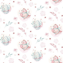 A Watercolor Spring Illustration Of The Cute Easter Baby Bird And Eggs. Egg Cartoon Animal Seamless Pink Fabric Pattern