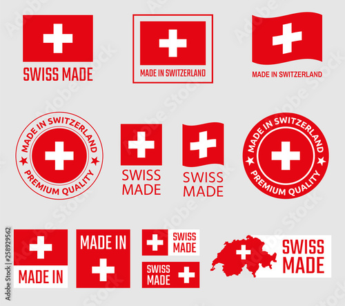 Obraz na plátně Swiss made icon set, made in Switzerland product labels