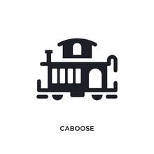 Black Caboose Isolated Vector Icon. Simple Element Illustration From Transportation Concept Vector Icons. Caboose Editable Logo Symbol Design On White Background. Can Be Use For Web And Mobile