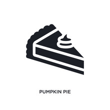 Black Pumpkin Pie Isolated Vector Icon. Simple Element Illustration From United States Of America Concept Vector Icons. Pumpkin Pie Editable Logo Symbol Design On White Background. Can Be Use For