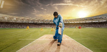 Young Sportsman Batting In The Cricket Field