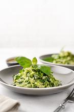 Zucchini Vegan Pasta On White Background. Vegan Food
