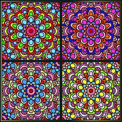 Vintage seamless pattern with indian mandala art ornament