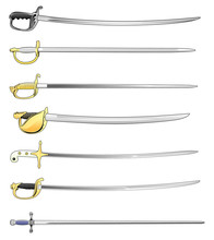 Military Sword Cutlass And Saber Set Isolated Vector Illustration