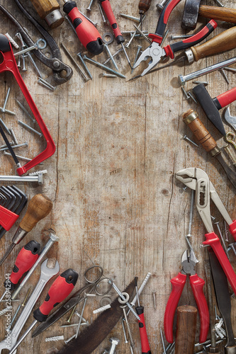 Foto op Aluminium DIY border of assorted red hand tools