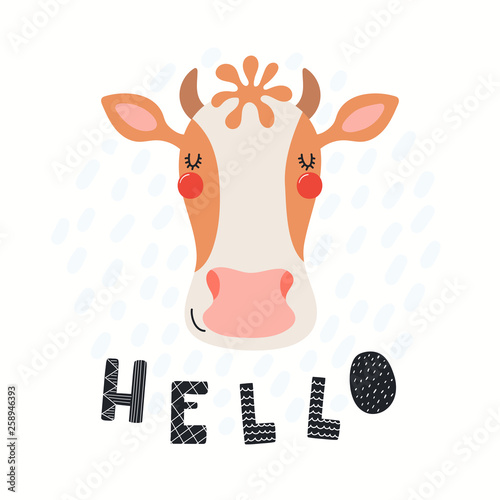 Hand drawn vector illustration of a cute funny cow face, with lettering quote Hello. Isolated objects on white background. Scandinavian style flat design. Concept for children print.