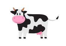 White Cute Cow With Black Spots. Vector Illustration