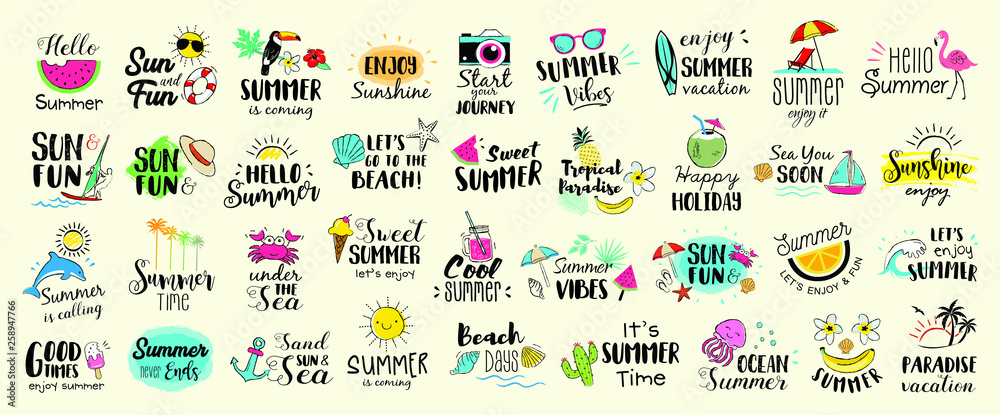 Fototapety, obrazy: Big set of Summer labels, logos, hand drawn tags and elements for summer holiday, travel, beach vacation, sun. Vector illustration.