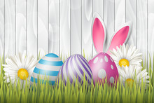 Easter Background With Painted 3d Realistic Eggs In Green Glass And Flowers On White Wooden Backdrop. Vector Illustration.