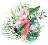 Hand drawn watercolor tropical birds set of flamingo with leaves. Exotic rose bird illustrations, jungle tree leaf, weddihg invitation. Perfect for fabric design. Aloha collection. - 258949956