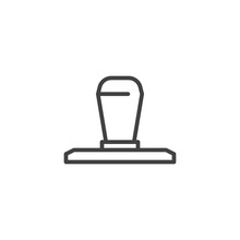 Rubber Stamp Line Icon. Linear...