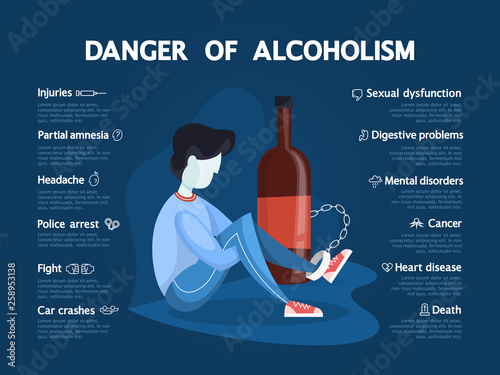 Photo Danger of alcoholism infographic. Drunk alcoholic chained