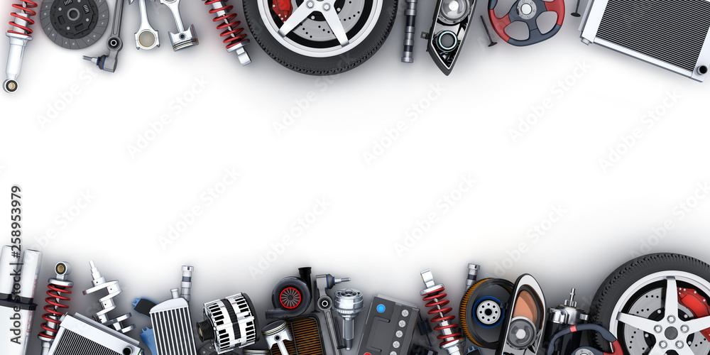 Fototapety, obrazy: Many car parts on white background