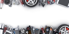 Many Car Parts On White Backgr...