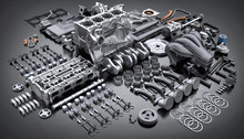 Car Engine Disassembled. Many ...